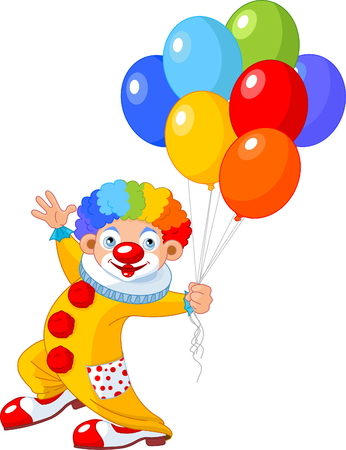 spot lit: The funny clown holding balloons. illustration Illustration