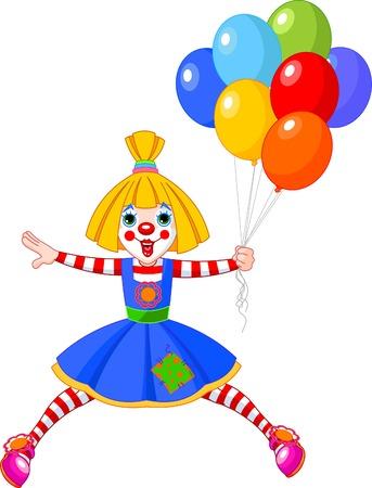 zapatos caricatura: La chica de payaso divertido saltando con globos. Ilustraci�n Vectores