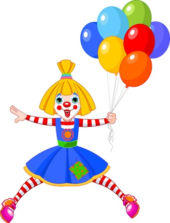 The funny clown girl jumping with balloons. illustration Vector