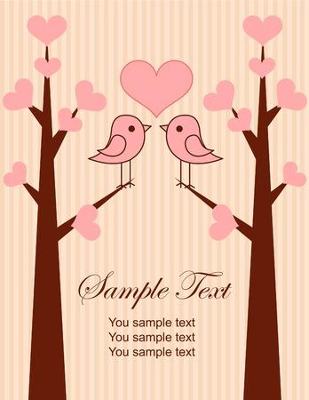 Cute vogels paar plaats kaart.Illustratie