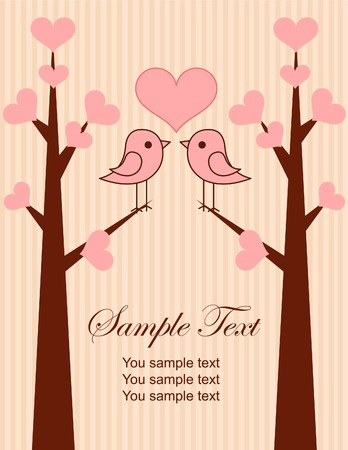 Cute birds couple place card.Illustration