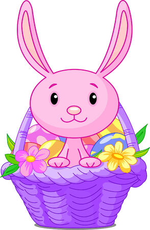 Beautiful Easter basket with bunny and eggs Vector
