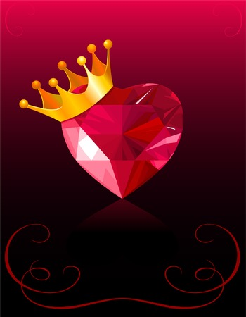 Shiny crystal love heart with gold crown  Vector