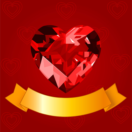 ruby: Valentine background with ruby heart Illustration