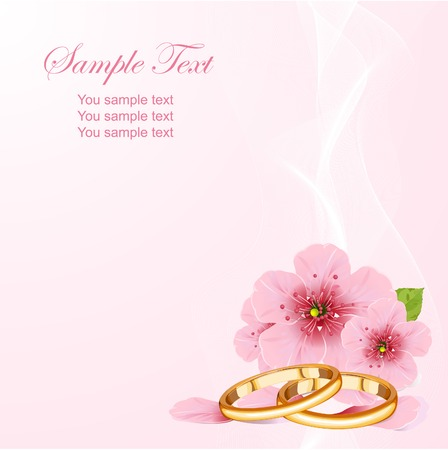 marital: Wedding rings and pink cherry blossom design