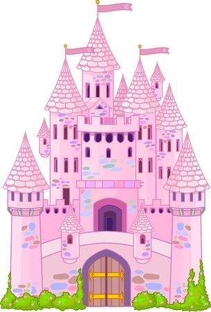 castillos de princesas: Ilustraci�n de un castillo de la princesa de cuento de hadas  Vectores
