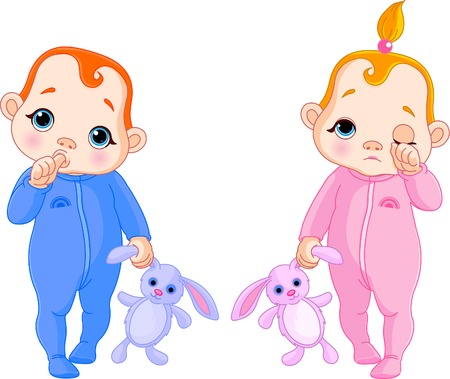 tvillingar: Adorable vector illustration of twins going to sleep Illustration