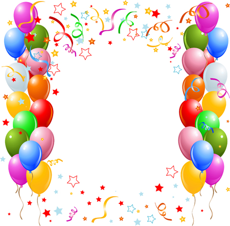 birthday celebration: illustration of the border of multicolored balloons and confetti