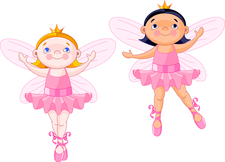 Vector illustration of two little fairies dressed like ballerinas