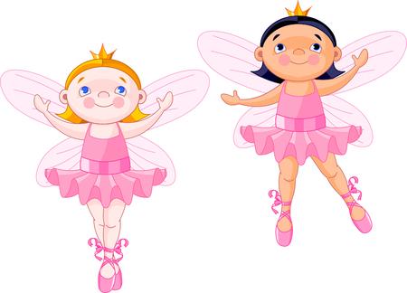 Vector illustration of two little fairies dressed like ballerinas Vector