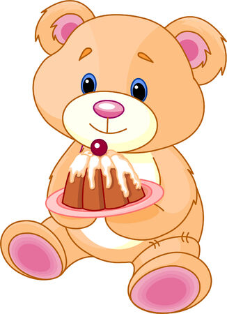 stuffed animals: Cute Teddy Bear with birthday cake. Illustration