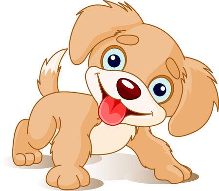 かわいい遊び心のある子犬のイラスト