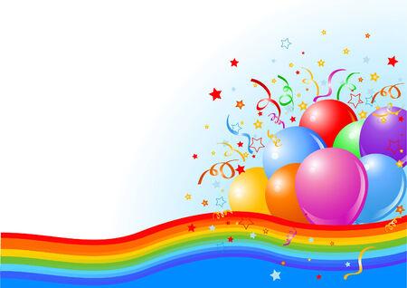虹のリボンとパーティー風船背景のイラスト  イラスト・ベクター素材