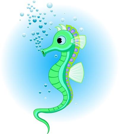 Illustraties van schattige Seahorse in de zee Vector Illustratie