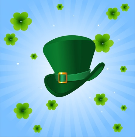 leprechaun background: St. Patricks Day radial  background with leprechaun hat  Illustration