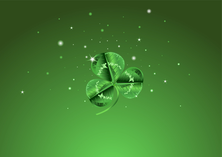 Three leafed clover in the center of the screen with stars behind it