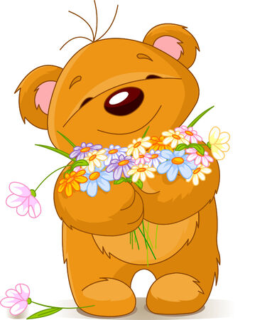 cute bear: Cute little Teddy bear giving a bouquet