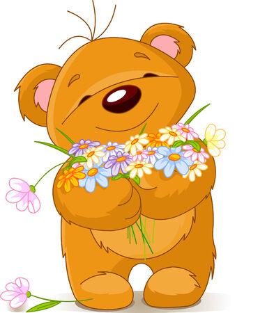 cute bear: Cute little Teddy bear giving a bouquet