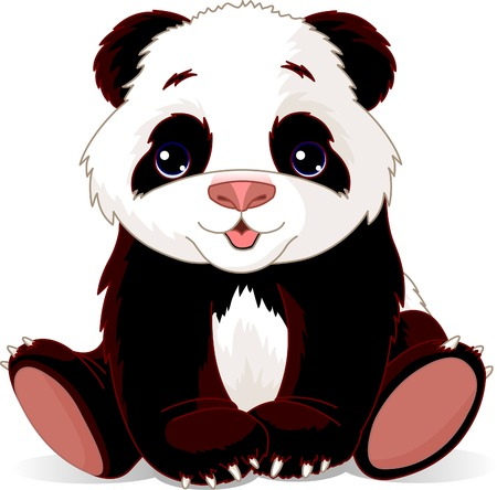 illustration of very cute baby panda Çizim