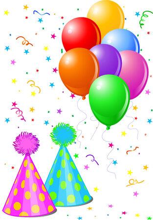 Party objecten. Ballonnen, feestmutsen en confetti