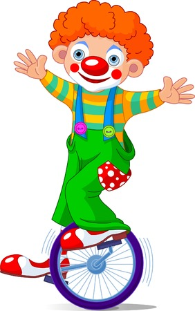 Cute Circus Clown on Unicycling. Illustration Çizim
