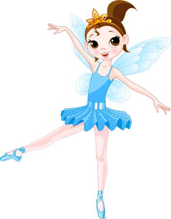 petite fille avec robe: Ballerine fées cute bleu. Ailes et glitter sont des groupes distincts.