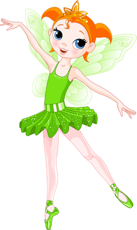 Green Cute fairy ballerina. Wings and glitter are separate groups. Illustration