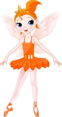 Orange Cute fairy ballerina. Wings and glitter are separate groups. Vector
