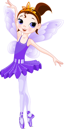 angel birthday: Violet  Cute fairy ballerina. Wings and glitter are separate groups.