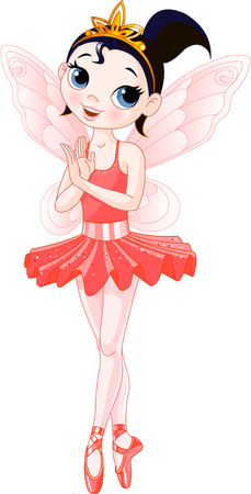 Red Cute fairy ballerina. Wings and glitter are separate groups. Illustration