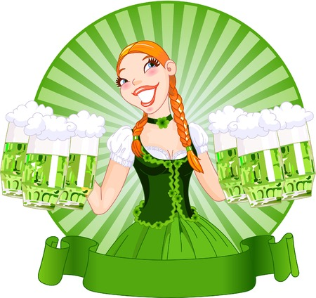 irish woman: illustration of young female serving a green beer for St. Patricks Day. Illustration