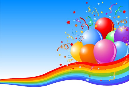 multi coloured: illustration of Party balloons background with rainbow ribbon