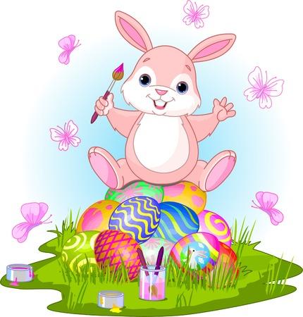 Illustratie van de Paas haas zittend op eieren en vlinders in een lente thema.