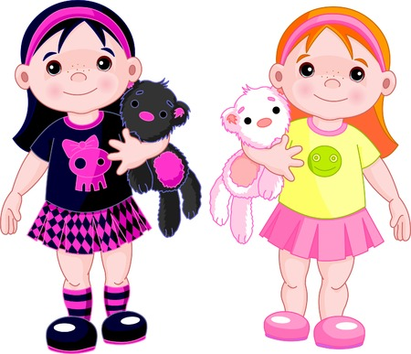 punk hair: Cute little girls wearing different stile clothing