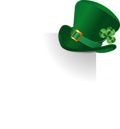 leprechaun hat: Page corner with St. Patricks Day green hat of a leprechaun