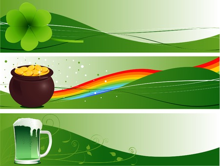 St. Patricks Day Banners with clover, pot and beer Vector