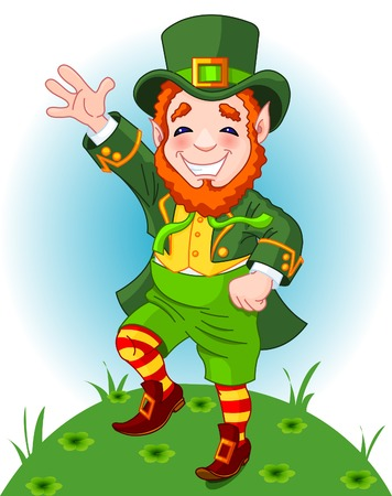 irish: Full length drawing of a leprechaun dancing a jig, copy space