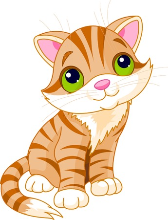 wiskers: Very Cute kitten with green eyes. illustration Illustration