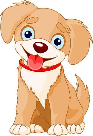 빨간 칼라 입고 귀여운 강아지의 그림 일러스트