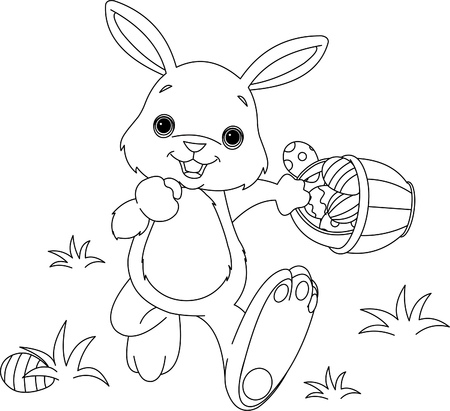 Coloring page of Easter Bunny Hiding Eggs Vector