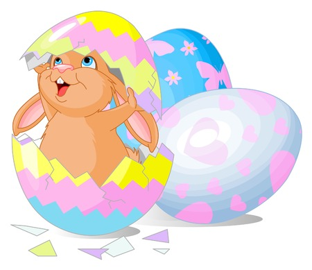funny easter: Easter bunny jumping out from broken egg