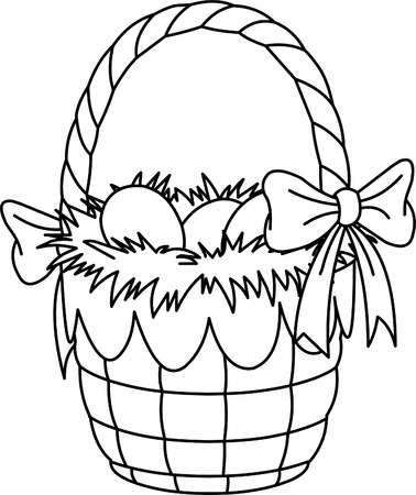 Pretty Easter basket coloring page  Illustration