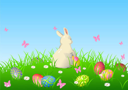 Illustration of Easter bunny sitting on the spring meadow Vector