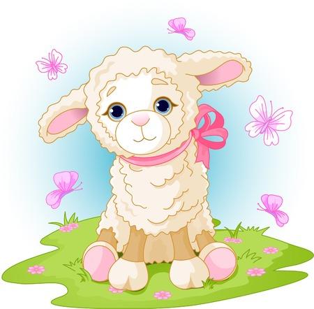 pasen schaap: Spring achtergrond met Pasen-lamsvlees en bloemen