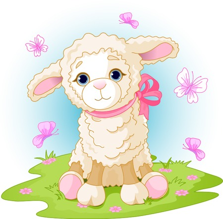Spring background with Easter lamb and flowers Vector