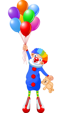 Funny clown flying with balloons. Vector illustration