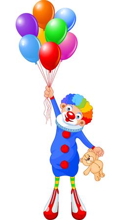 zapatos caricatura: Payaso divertido volando con globos. Ilustraci�n vectorial