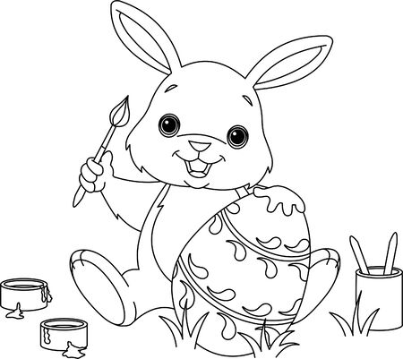 Coloring page of an Easter Bunny painting an egg Vector