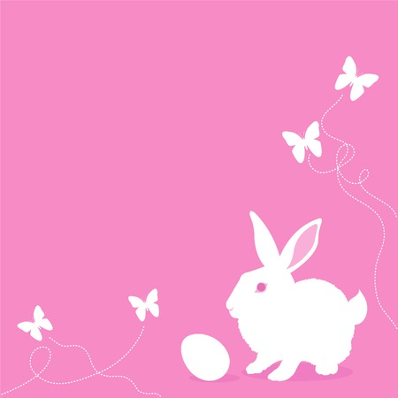 Vector Pink Easter background with bunny, egg and butterflies. Place for copytext Vector