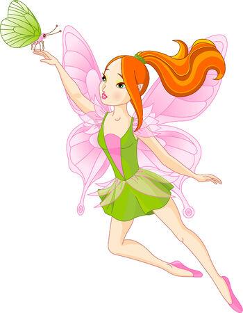 美しい妖精と蝶を飛んでのベクトル イラスト